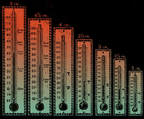 Thermometers and temperature illustration.