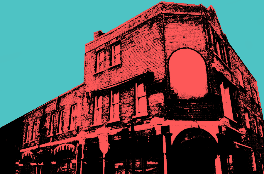 Illustration: moody London pub.