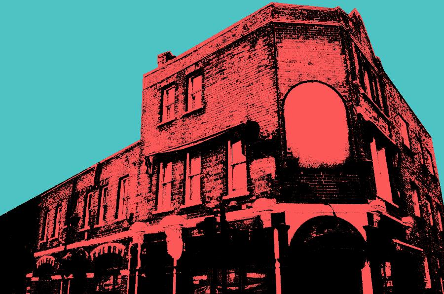 Illustration: moody London pub.