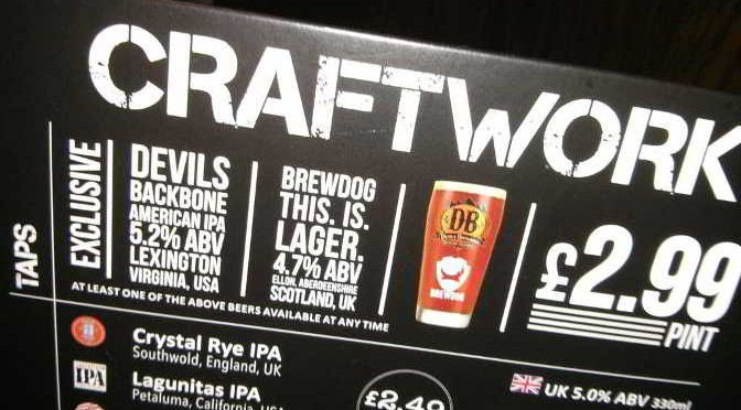 Craftwork point of sale materials at Wetherspoon's.