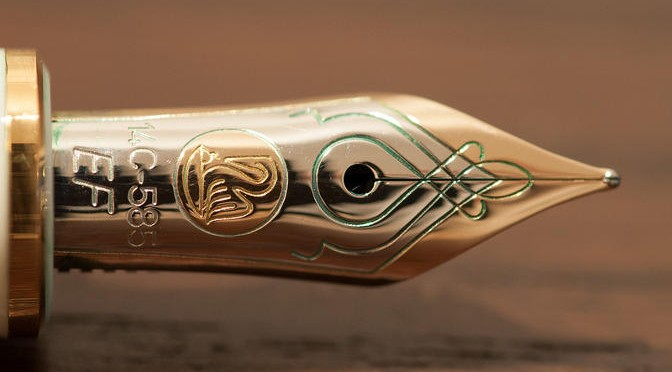 'Pelikan nib with green' by srslyguys, from Flickr, under Creative Commons.