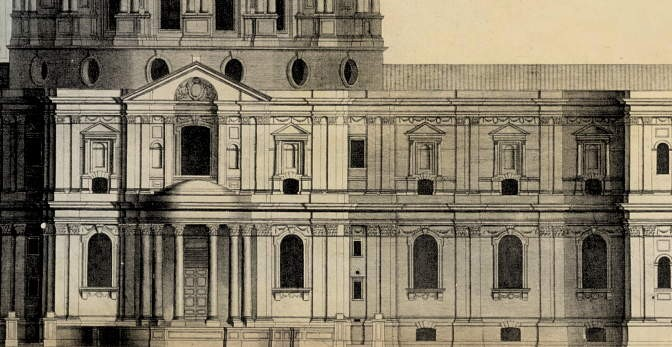 St Paul's Cathedral: elevation by Wren. (Detail.)