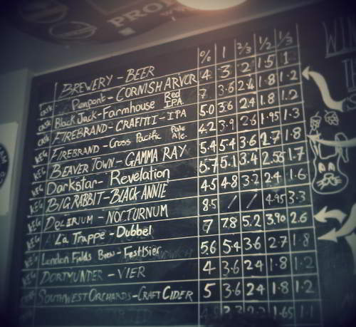Beer list at the Beer Cellars, Exeter.