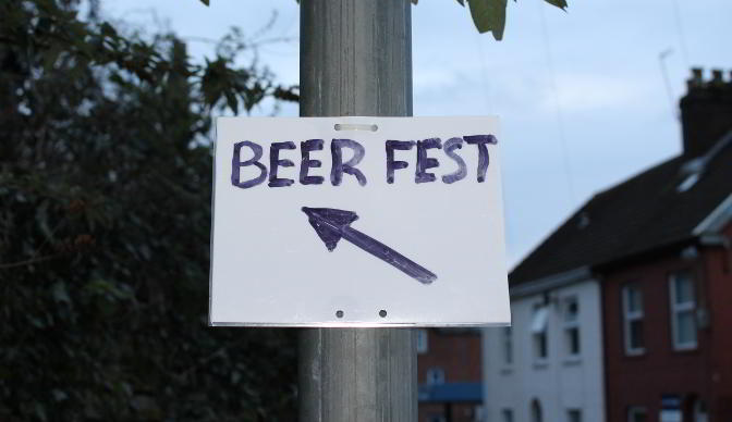 Beer Fest sign, Exeter, January 2015.