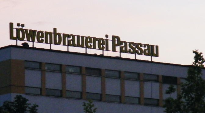 Brewery in Passau at sunset.
