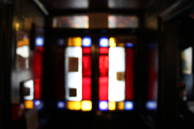 Out-take from our St Just pub crawl photo-shoot: an out of focus stained-glass window at the Star Inn.