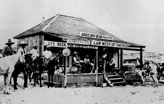 Roy Bean's saloon courtroom.