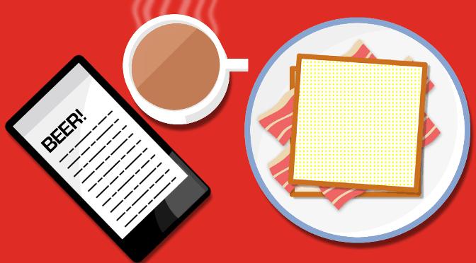 Breakfast Illustration: Bacon Butty.