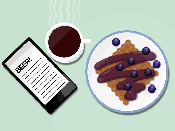Illustration: Breakfast reading with blueberry waffle.