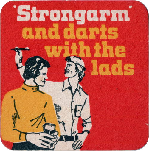 "Cameron's beer mat: '""Strongarm"" and darts with the lads' -- men playing darts."