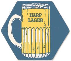 Beer mat advertising Harp Lager c.1980.