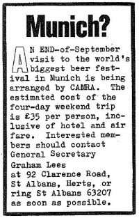 CAMRA Munich ad, 1972.