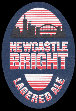 Beer mat advertising Newcastle Bright -- lagered ale.