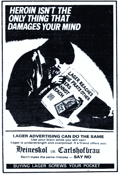Nottingham CAMRA advertisement, 1986, parodying anti-heroin campaigns.