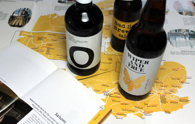 Three UK saisons on a map of the UK brewing industry.