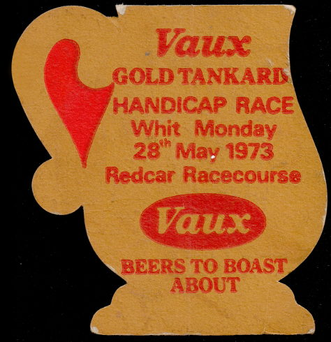 Vaux Gold Tankard beer mat advertising a 1973 race at Redcar Racecourse.