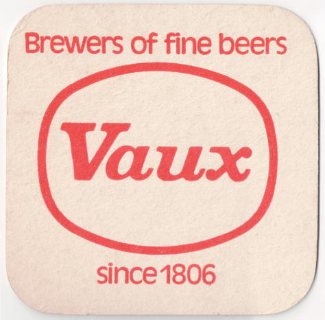 "Basic white mat with red text: 'Vaux -- Brewers of fine beers since 1806""."