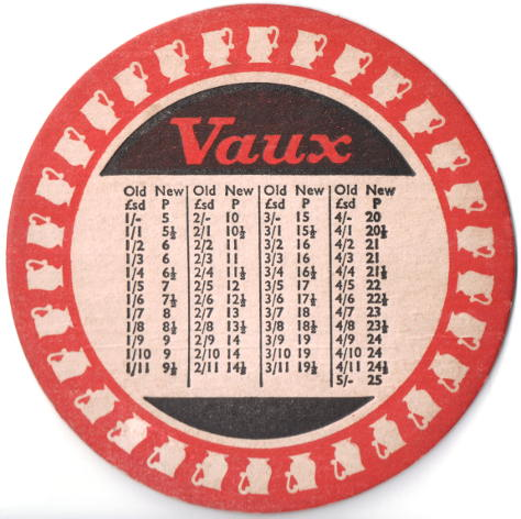 Decimal conversion chart on a beer mat, c.1971.