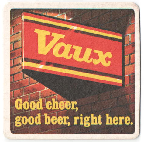 "Vaux illuminated sign with caption: ""Good cheer, good beer, right here."""