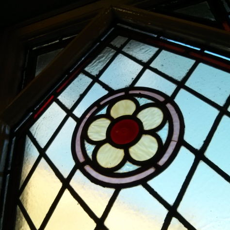 Stained glass window -- flower design.