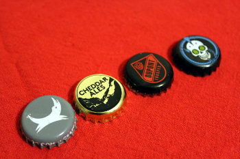 Bottle caps from winning saisons.