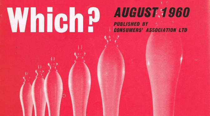 Detail from the cover of Which? magazine, August 1960.