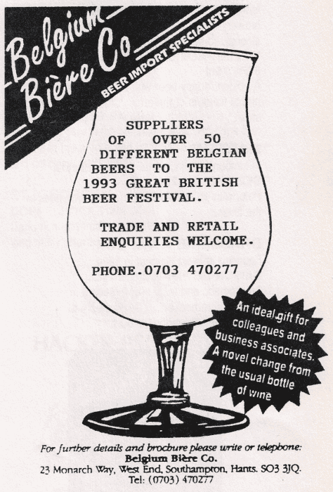 1993 advert for the Belgium Biere Co.