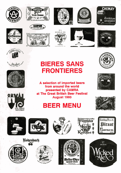Front cover of the 1993 Great British Beer Festival Bieres Sans Frontieres menu.