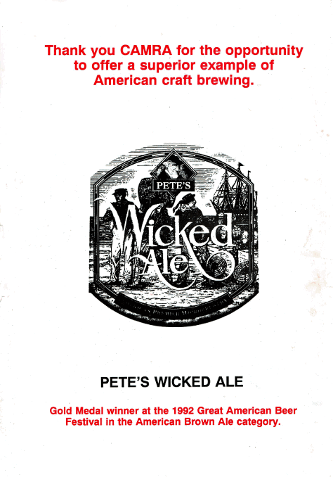 Pete's Wicked Ale ad from the rear of the BSF programme.