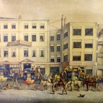 The Bush Tavern, Corn Street, Bristol in the Old Coaching Days, chromolithograph by William Lewis after JH Maggs.