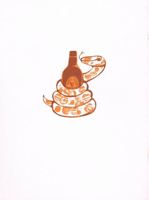Autumn 1967, rear: the Edenic serpent wraps itself around a bottle of Guinness.