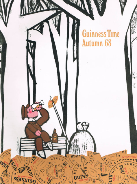 Autumn 1968, front: a park keeper surrounded by autumn leaves enjoys a Guinness.