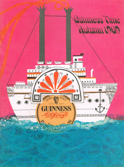 Autumn 1969, featuring a paddle-steamer with a Guinness label for its wheel.