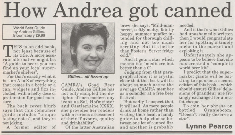 "'How Andrea Got ""Canned""', book review from What's Brewing."