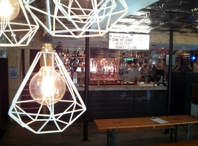 Lightbulbs and interior at Mono, Falmouth, October 2015.