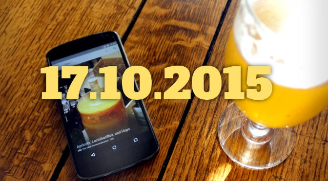 Smartphone, beer and overlaid text with today's date.