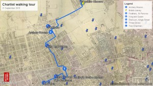 Chartist walking tour map by Kristina Navickas.
