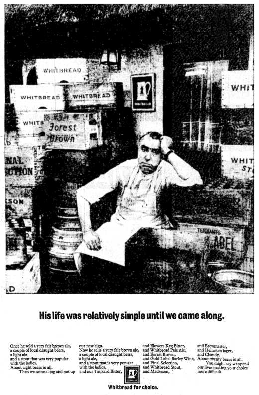 1967 advertisement for Whitbread: a landlord overwhelmed by the range of beers he is able to sell .