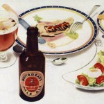 Detail from a Whitbread advertisement, 1937, showing beer with food.