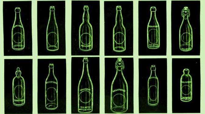 Various bottles from a 1910 advertisement.