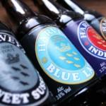 Harvey's bottled beers: Sweet Stout, Blue Label, IPA, Brown.