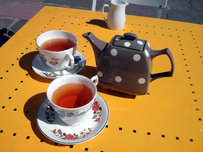 Teacups and teapot at the Little Wonder Cafe, Penzance, April 2014.