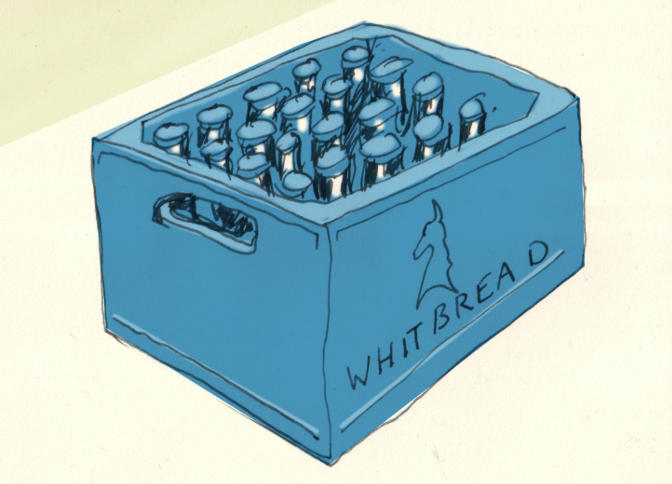 Illustration: blue Whitbread beer crate.