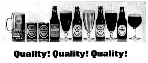 Watney's 1966 ad with a line of beers next to their cans and bottles.