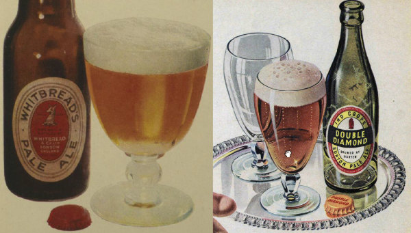 Details from 1953 print ads for Whitbread Pale Ale and Double Diamond.