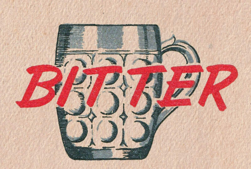 Detail from an old beer mat: BITTER!