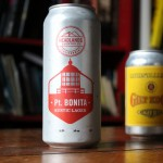 Pt. Bonita lager can with Ruhstaller's in the background.
