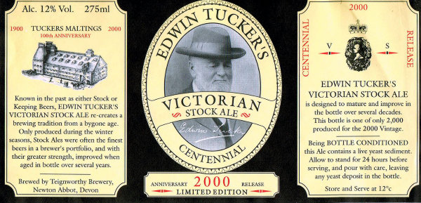Edwin Tucker Stock Ale 2000 vintage label.
