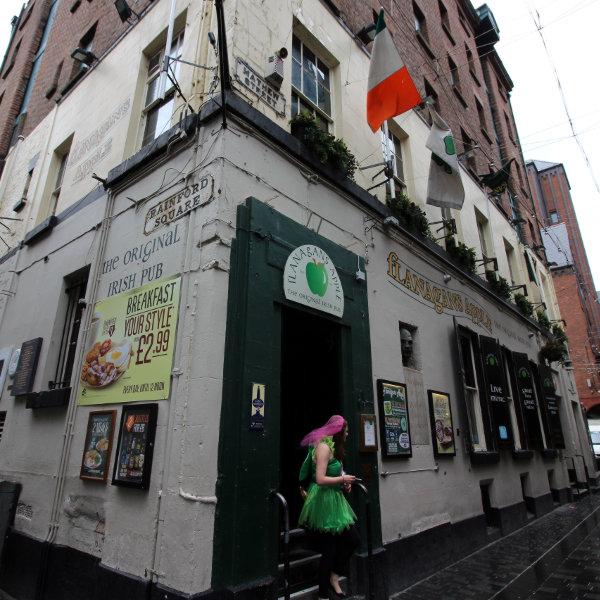Exterior of Flanagan's Apple Irish pub with hen party survivor.