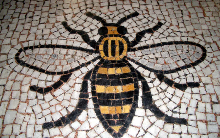 Mosaic of a beer from Manchester town hall.